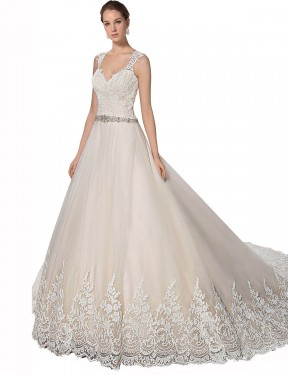 A-Line Sweetheart Chapel Train Long Ivory & Champagne Tulle & Lace Ember Wedding Dress
