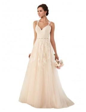 A-Line Sweetheart Chapel Train Long Ivory Tulle Emersyn Wedding Dress for Sale