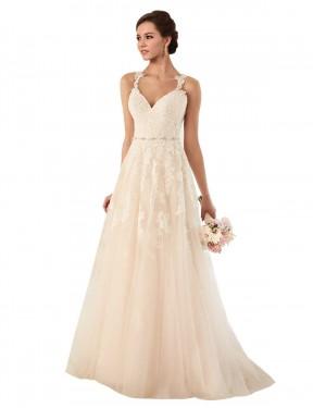 A-Line Sweetheart Chapel Train Long Ivory Tulle Emersyn Wedding Dress
