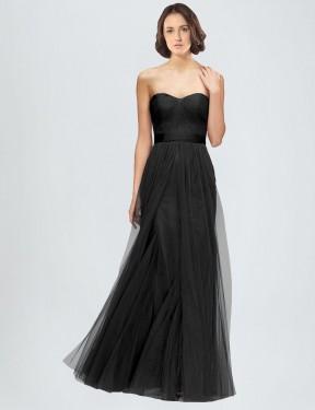 A-Line Sweetheart Floor Length Long Black Tulle Kelly Bridesmaid Dress for Sale
