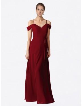 A-Line Sweetheart Floor Length Long Burgundy Chiffon Alyssa Bridesmaid Dress for Sale
