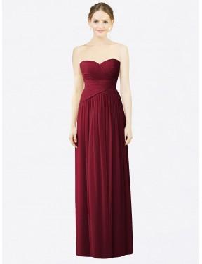 A-Line Sweetheart Floor Length Long Burgundy Chiffon Saylor Bridesmaid Dress for Sale