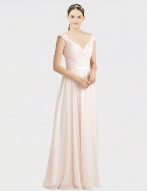 A-Line Sweetheart Floor Length Long Cream Pink Chiffon & Lace Arely Bridesmaid Dress for Sale