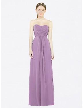 A-Line Sweetheart Floor Length Long Dark Lavender Chiffon Kylee Bridesmaid Dress for Sale