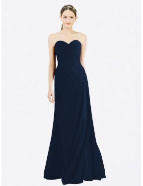 A-Line Sweetheart Floor Length Long Dark Navy Chiffon Dorreen Bridesmaid Dress for Sale