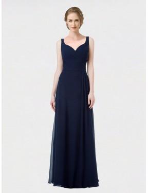 A-Line Sweetheart Floor Length Long Dark Navy Chiffon Oaklynn Bridesmaid Dress for Sale