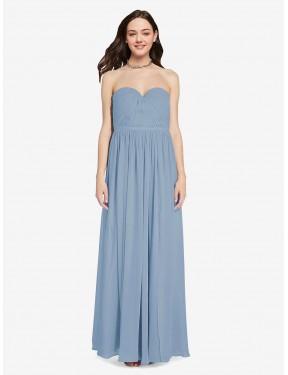 A-Line Sweetheart Floor Length Long Dusty Blue Chiffon Ali Bridesmaid Dress for Sale