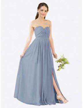 A-Line Sweetheart Floor Length Long Dusty Blue Chiffon Elizabeth Bridesmaid Dress for Sale