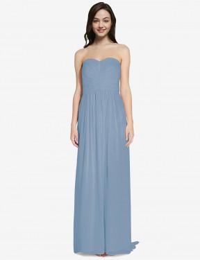 A-Line Sweetheart Floor Length Long Dusty Blue Chiffon Emelie Bridesmaid Dress for Sale