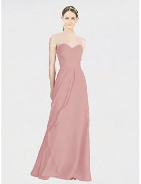 A-Line Sweetheart Floor Length Long Dusty Pink Chiffon Jaycee Bridesmaid Dress for Sale
