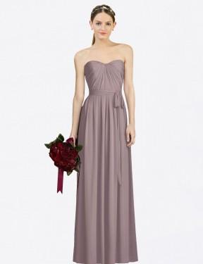 A-Line Sweetheart Floor Length Long Dusty Rose Chiffon Felicity Bridesmaid Dress for Sale