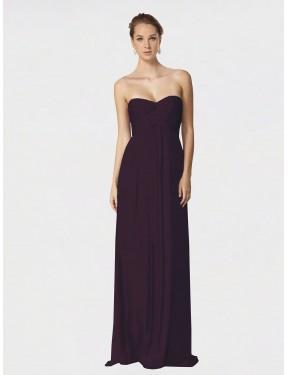 A-Line Sweetheart Floor Length Long Grape Chiffon Jessie Bridesmaid Dress for Sale