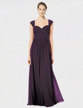 A-Line Sweetheart Floor Length Long Grape Chiffon & Lace Naomi Bridesmaid Dress for Sale