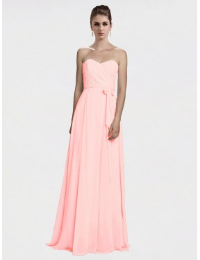 A-Line Sweetheart Floor Length Long Ice Pink Chiffon Ailani Bridesmaid Dress for Sale