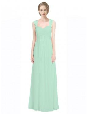 A-Line Sweetheart Floor Length Long Mint Green Chiffon & Lace Opal Bridesmaid Dress for Sale