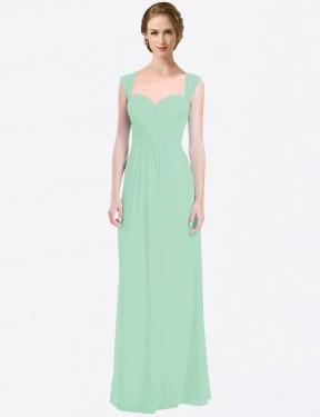 A-Line Sweetheart Floor Length Long Mint Green Chiffon Patricia Bridesmaid Dress for Sale