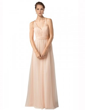 A-Line Sweetheart Floor Length Long Nude Tulle Jaliyah Bridesmaid Dress for Sale