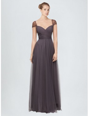 A-Line Sweetheart Floor Length Long Pewter Tulle Alena Bridesmaid Dress for Sale