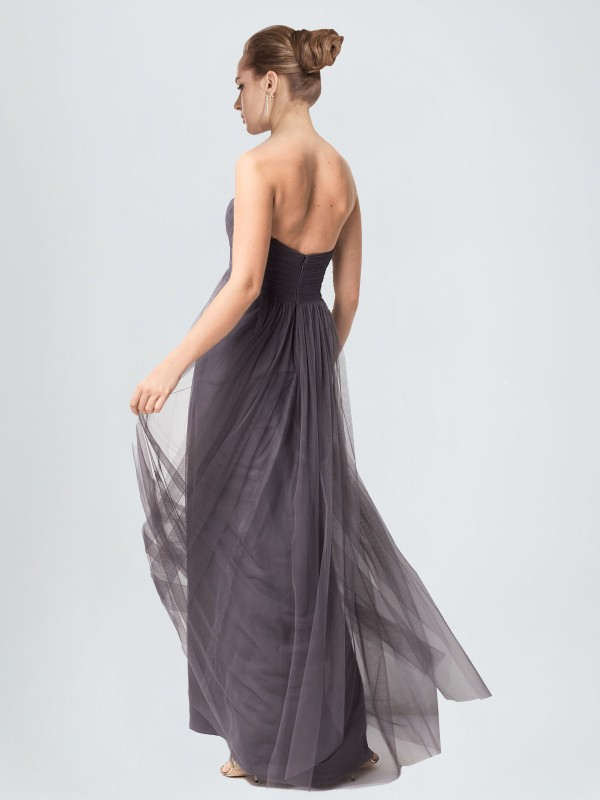 A-Line Sweetheart Floor Length Long Pewter Tulle Kimber Bridesmaid Dress for Sale