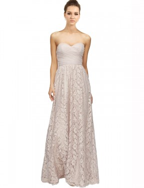 A-Line Sweetheart Floor Length Long Pink Lace Leyla Bridesmaid Dress for Sale