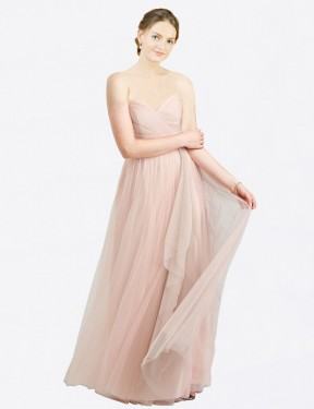 A-Line Sweetheart Floor Length Long Pink Tulle Aubrey Bridesmaid Dress for Sale