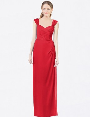 A-Line Sweetheart Floor Length Long Red Chiffon Dylan Bridesmaid Dress for Sale
