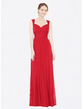 A-Line Sweetheart Floor Length Long Red Chiffon Margot Bridesmaid Dress for Sale