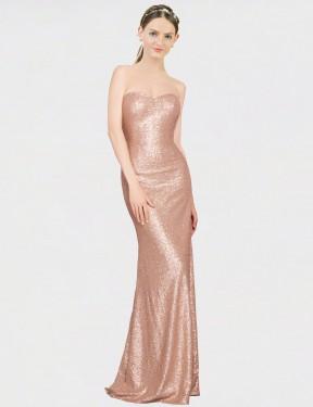 A-Line Sweetheart Floor Length Long Rose Gold Sequin Nalani Bridesmaid Dress for Sale