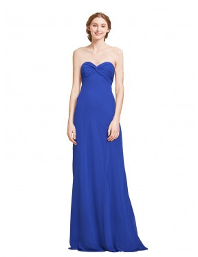 A-Line Sweetheart Floor Length Long Royalty Chiffon Oben Bridesmaid Dress for Sale