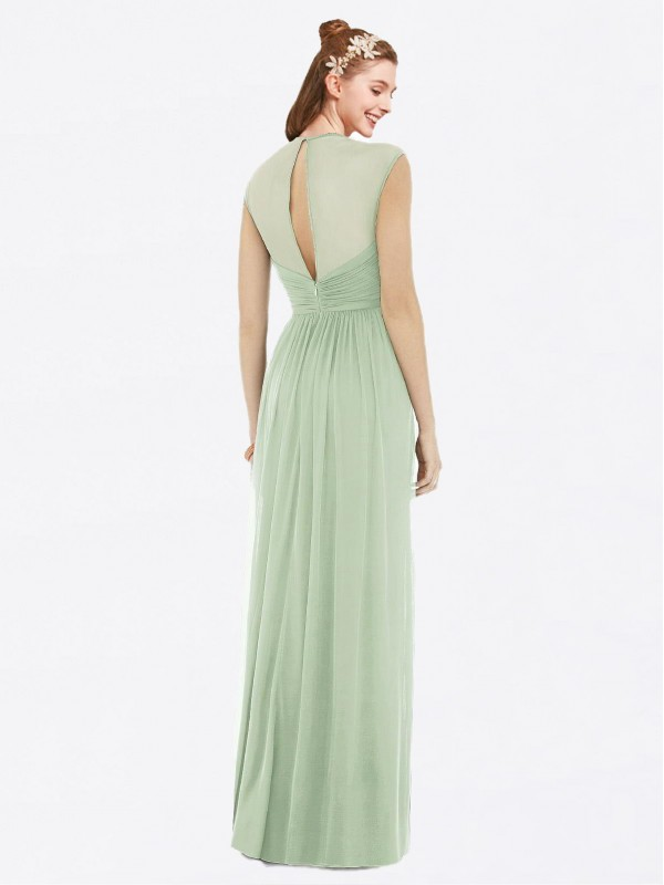 A-Line Sweetheart Floor Length Long Sage Chiffon Annalise Bridesmaid Dress for Sale