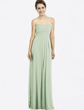 A-Line Sweetheart Floor Length Long Sage Chiffon Haley Bridesmaid Dress for Sale