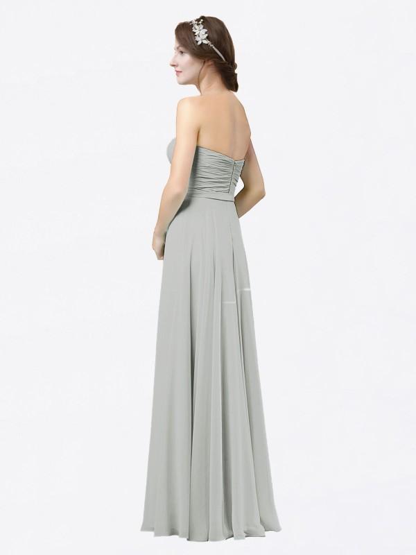 A-Line Sweetheart Floor Length Long Silver Chiffon Adelina Bridesmaid Dress for Sale
