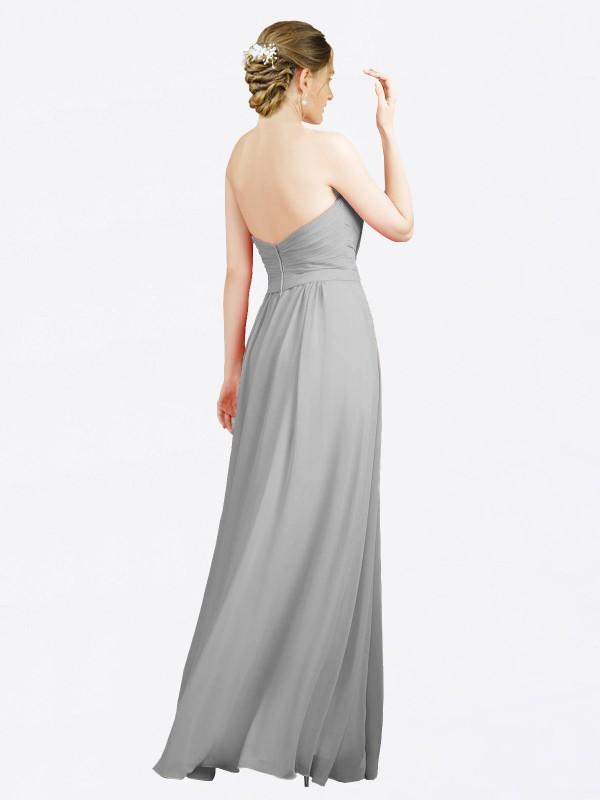 A-Line Sweetheart Floor Length Long Silver Chiffon Jazlynn Bridesmaid Dress for Sale