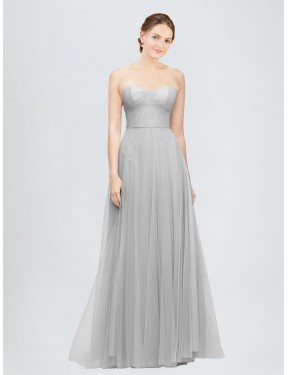 A-Line Sweetheart Floor Length Long Silver Tulle Emory Bridesmaid Dress for Sale