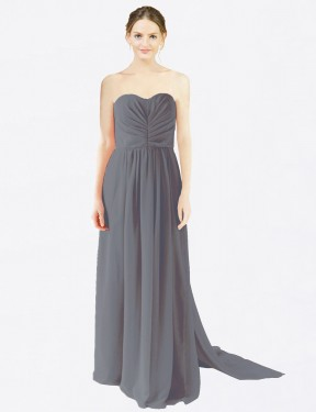 A-Line Sweetheart Floor Length Long Slate Grey Chiffon Emily Bridesmaid Dress for Sale