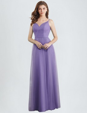 A-Line Sweetheart Floor Length Long Tulle Janel Bridesmaid Dress for Sale