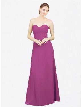 A-Line Sweetheart Floor Length Long Wild Berry Chiffon Kiana Bridesmaid Dress for Sale