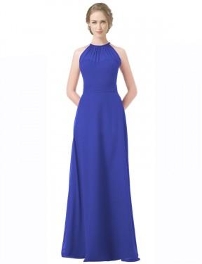 A-Line Sweetheart Halter Floor Length Long Royal Blue Chiffon Aminah Bridesmaid Dress for Sale