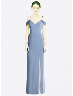A-Line Sweetheart Jewel Off the Shoulder Floor Length Long Dusty Blue Chiffon Deborah Bridesmaid Dress for Sale