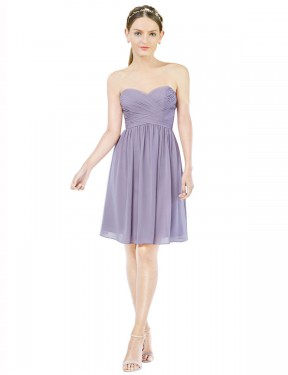 A-Line Sweetheart Knee Length Short Chiffon Monica Bridesmaid Dress for Sale