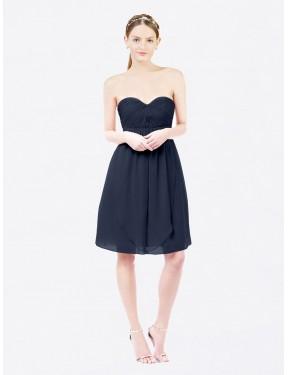 A-Line Sweetheart Knee Length Short Dark Navy Chiffon Ella Bridesmaid Dress for Sale