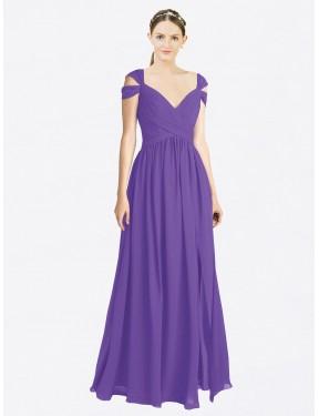 A-Line Sweetheart Off the Shoulder Floor Length Long Purple Chiffon Ingrid Bridesmaid Dress for Sale