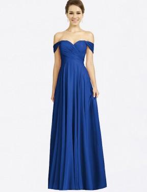 A-Line Sweetheart Off the Shoulder Floor Length Long Royal Blue Chiffon Sabrina Bridesmaid Dress for Sale