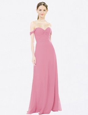 A-Line Sweetheart Off the Shoulder Floor Length Long Skin Pink Chiffon Nathalie Bridesmaid Dress for Sale