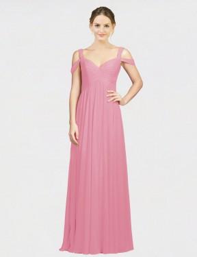 A-Line Sweetheart Off the Shoulder Floor Length Long Skin Pink Chiffon Zelda Bridesmaid Dress for Sale