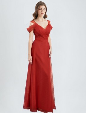 A-Line Sweetheart Off the Shoulder Floor Length Long Tulle Monika Bridesmaid Dress for Sale