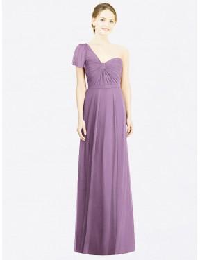 A-Line Sweetheart One Shoulder Floor Length Long Dark Lavender Chiffon Ryann Bridesmaid Dress for Sale