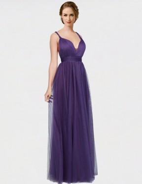 A-Line Sweetheart Spaghetti Straps Bateau Floor Length Long Purple Tulle Joslyn Bridesmaid Dress for Sale