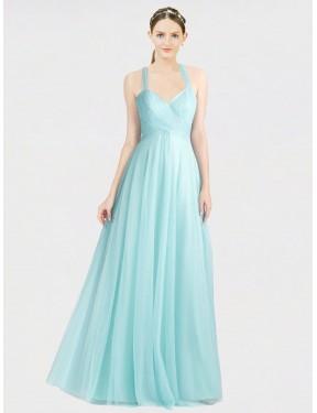 A-Line Sweetheart Spaghetti Straps Floor Length Long Mint Green Tulle Kaya Bridesmaid Dress for Sale
