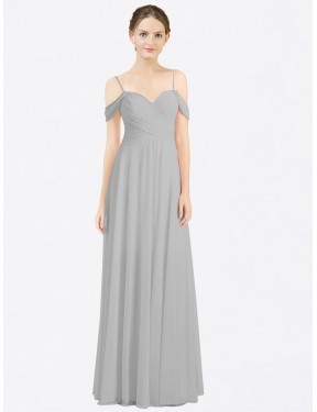 A-Line Sweetheart Spaghetti Straps Off the Shoulder Floor Length Long Silver Chiffon Breanna Bridesmaid Dress for Sale